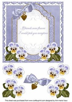 Blue Pansy If Friends Fancy 7in Decoupage Topper by Ann-marie Vaux I have designed this very pretty 7in topper with decoupage layers to make a gorgeous card front. It is very easy to use, simply cut out the picture layer and attach to your 7in card base, then cut out the layers and using 3D foam or silicone glue, attach to your card. Lots of different sentiments to available as well as other colourways and matching envelopes are also available. Envelopes to match start at cup600394_10 for…