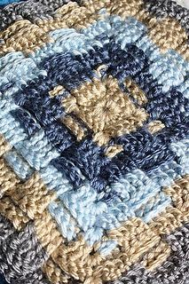 This crochet granny square is made using the basketweave stitch and would look great with some other more simple stitch designs