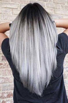 Silver ombre hair, silver white hair, gray hair, white hair t Red Curly Wig, Grey Hair Wig, Grey Ombre Hair, Dark Grey Hair, White Blonde Hair, Ash Grey, Ice Blonde, Gray, Haircuts For Long Hair