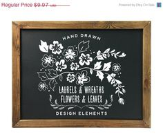 Hand drawn flowers, leaves, laurels and wreaths Chalkboard Clipart in black and in white. Includes a total of 68 PNG files and 2 EPS files of all https://www.etsy.com/listing/186679353