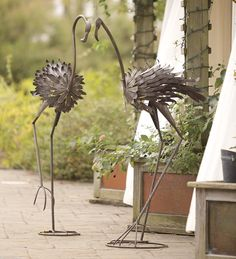 Large Metal Flamingo Statues, Set of 2