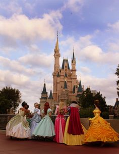 Looking at the castle. Can I just follow Disney princesses around and take pictures of them for the rest of my life? Please?