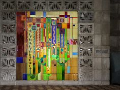 """Stained glass """"Saguaros"""" in Arizona Biltmore lobby. Designed by Wright as a Liberty Magazine cover and fabricated by Taliesin students durin. Frank Lloyd Wright Style, Arizona Biltmore, Hotel Lobby Design, Stained Glass, Toms, Old Things, Liberty, Gallery, Students"""