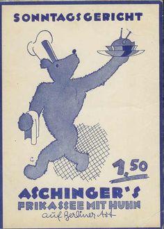 "1930er Aschinger's Sonntagsgericht - Frikasee mit Huhn ""Berliner Art"",Berlin"