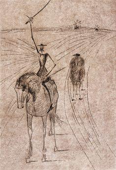 """Dom Quixote - Candido Portinari """"L'ingiustizia non è il solo male che divora il mondo, anche l'anima dell'uomo ha toccato spesso il fondo""""."""