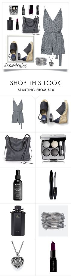"""""""Grey loves espadrilles"""" by puljarevic ❤ liked on Polyvore featuring Seafolly, Gap, Ina Kent, Chanel, Lancôme, Gucci, Avenue, Smashbox and espadrilles"""