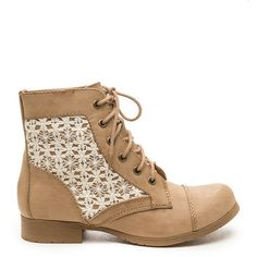TAN Flower Power Crochet Combat Boots ($31) ❤ liked on Polyvore featuring shoes, boots, ankle booties, ankle boots, tan, combat boots, short boots, floral combat boots and lace bootie