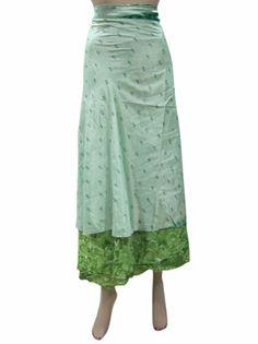 Amazon.com: Womens Skirt Pear Green Floral Printed Sari Wrapskirts Sarong Dress: Clothing