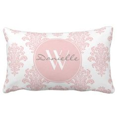 Girly Pink Damask Monogram Lumbar Pillow. >> Have a look at even more by clicking the image link
