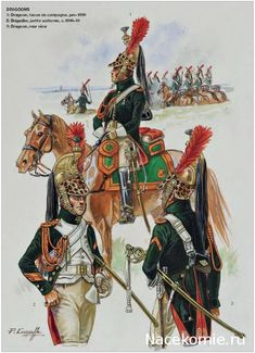 Napoleon's Dragoons of the Imperial Guard_ 1-Dragoon,tenue de campagne 1809 2-Brigadier, petite uniforme 1809-10 3-Dragoon,