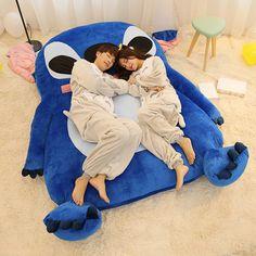 220x150cm Large Size Cartoon Mattress Stitch Cushion Plush Giant Stitch Plush Giant Totoro Bed Sleeping Bag Memory Foam matelas