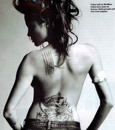 if i dared to have tattoos... #angelinajolie - was so tempted to get one of these in Thailand. Buddhist prayers.