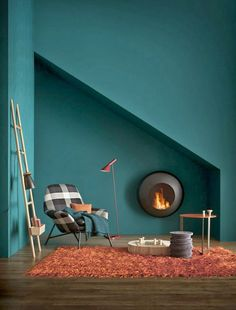 Peinture murs tendance bleu petrole