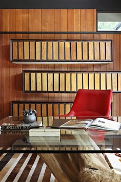Preciously Me : Home Decor | Home Office. Wood.. & red chair.