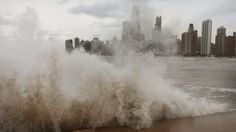 Waves generated from the remnants Hurricane Sandy crash into the shoreline of Lake Michigan on October 30, 2012 in Chicago, Illinois. (Photo by Scott Olson/Getty Images