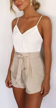 White + Beige Playsuit