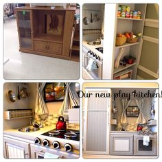 Play kitchen from entertainment center created for our 1 year old girls!