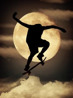 """Skater in the Clouds"" by Juan Jose Gomez Moonscape, Good Night Moon, Photo, Cool Pictures, Moon Photography, Clouds, Silhouette, Skateboard Photography, Creative Photography"