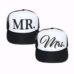 Mr. and Mrs. Trucker Hat Set, Bride and Groom Trucker Hat Set, Bride and Groom Hats, Wedding Trucker Hat