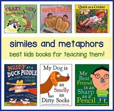 Children& books are a fantastic resource for simile lesson plans! This page has a list (compiled by teachers) of the best children& books that are full of creative and fun simile examples. Reading Strategies, Reading Skills, Reading Comprehension, Kids Reading, Guided Reading, Reading Lists, Best Children Books, Childrens Books, Similes And Metaphors