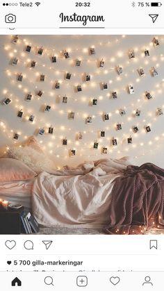 Ljusslingor och sovrum. Från @interiormilk på instagram