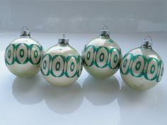 Vintage Christmas Ornaments Cream Green Retro by OneGirlsVintage, $20.00