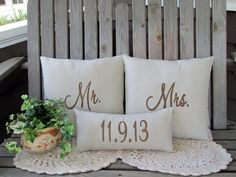 Mr & Mrs Pillow Cover Mr and Mrs Pillow Wedding Date Custom Embroidered Wedding Gift Personalized Linen Anniversary Gift Wedding Shower Gift on Etsy, $55.99
