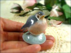 Small Grey Porcelain Finch by TinyandBeautiful on Etsy