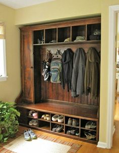 I want a hall tree with these features for the entryway. Shelving above the coat hooks and shelving below the seat.