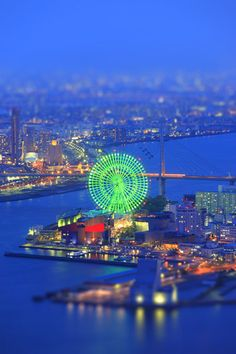 Night view of Sakishima, Osaka, Japan