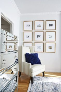 Dreamy Gallery wall ideas for your bedroom  On the corner  For a glam bedroom you can pick a nine square arrangement with metallic frames. Its super chic and you can add them on the corner of your room next to a cool cabinet, a closet or an armchair.
