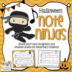 Halloween Note Ninjas: Music Note Recognition & Notation Worksheets {Grand Staff}