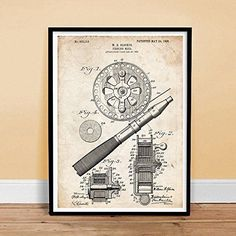 OLD FISHING REEL 1906 US PATENT ART POSTER PRINT VINTAGE FLY FISH ROD GLOCKER 18 #NotApplicable #Vintage