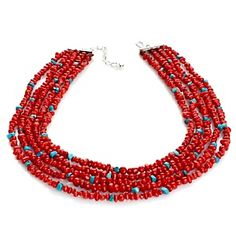 """Jay King 5-Row Red Coral and Turquoise Sterling Silver 18"""" Necklace at HSN.com."""
