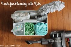 Get your kids involved with cleaning with these kid friendly supplies, ideas and DIY safe cleaner.