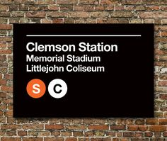 Clemson Sports Venues Subway Sign Prints - 3 Sizes Available by SussiesHome on Etsy