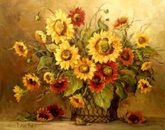 Sunflower Bouquet by Barbara Mock Kitchen Backsplash Bathroom wall Tile Mural >>> Check out this great product. Sunflower Bouquets, Sunflower Art, Decoupage, Dried Flower Wreaths, Tile Murals, Mural Wall, Wall Art, Wall Decor Stickers, Illustrations