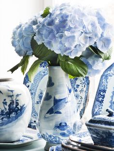 Blue hydrangea with blue and white china