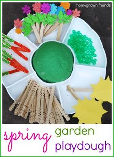 activities for toddlers - spring garden play dough