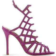 STEVE MADDEN Slithur nubuck heeled sandals ($110) ❤ liked on Polyvore featuring shoes, sandals, open toe slingback, stilettos shoes, high heel shoes, steve madden sandals and open toe sandals