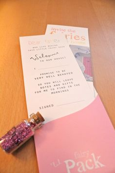 A fairy pak includes a note to the fairies a bottle of fairy dust and & Letters from the fairies   Little fairy door ideas   Pinterest ... pezcame.com