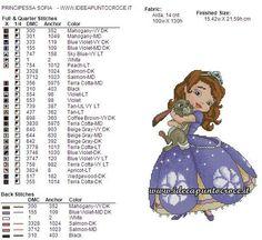 Princess Sofia 2 of 2 Cross Stitch For Kids, Cross Stitch Love, Cross Stitch Pictures, Cross Stitch Charts, Cross Stitch Designs, Cross Stitch Patterns, Cross Stitching, Cross Stitch Embroidery, Embroidery Patterns