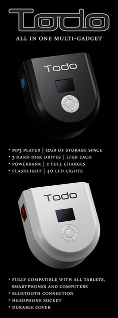 Meet #TODO -  All in One #MP3Player, Portable #Powerbank, 3 Hard Disk Drives and #Flashlight. #gadgets