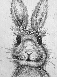 Bunny Rabbit Art  Original etching  childrens by katiejardineART