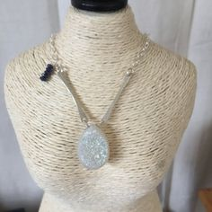 Moonsparkle Necklace  Agate Druzy teardrop & Sterling by WyldBlue