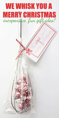 We Whisk You a Merry Christmas (Free Gift Tags) - click over to Rose Bakes to see how to make this fun, inexpensive kitchen gift! #christmas #gift #foodie #whisk #kisses