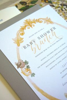 KARA'S BABY SHOWER SUITE — Cheer dry goods  peter rabbit, peter rabbit shower, peter rabbit baby shower, peter rabbit stationery, peter rabbit invite, baby shower, baby shower invite, baby shower invitation, baby shower inspiration, baby shower inspo, yellow and grey, water color, neutral baby shower, gender neutral shower, shower stationery, shower invite