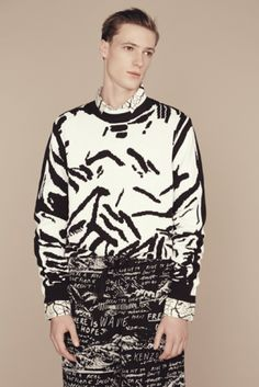 Kenzo pullover and pants, exclusively at Printemps. Surface to Air printed shirt at Printemps. SS14 collection