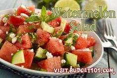 Budget101  Watermelon is a favored summertime treat, here is a simple, light salad recipe that incorporates watermelon, sweet vidalia onions and cucumbers with a lovely dressing http://www.budget101.com/dirt-cheap-recipes/watermelon-salad-4678.html