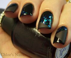 Chloe's-Nails-Black-French-Manicure-a-Patchwork